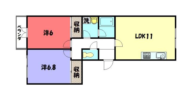 物件番号: 1075900715 Sea OaksⅥ  京都市左京区下鴨松ノ木町 2LDK マンション 間取り図