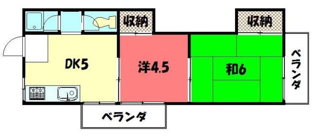 物件番号: 1075901116 コーポ川  京都市左京区北白川大堂町 2DK マンション 間取り図