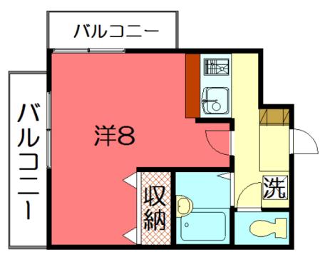 物件番号: 1075901701 アパートメント宝ヶ池  京都市左京区岩倉下在地町 1K マンション 間取り図
