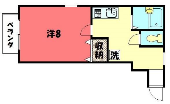 物件番号: 1075902086 ジョヴィアルⅠ・Ⅱ  京都市左京区一乗寺才形町 1K ハイツ 間取り図