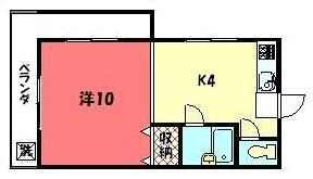 物件番号: 1075902183 第3みやぎビル  京都市左京区田中東春菜町 1K マンション 間取り図