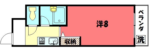物件番号: 1075902365 CASA TAKANO  京都市左京区高野玉岡町 1K マンション 間取り図