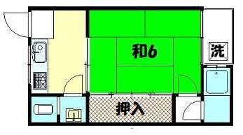 物件番号: 1075902990 大阪屋荘  京都市左京区北白川下池田町 1K アパート 間取り図