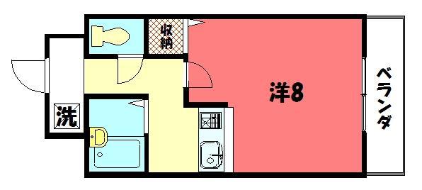 物件番号: 1075903467 アパートメント宝ヶ池  京都市左京区岩倉下在地町 1K マンション 間取り図