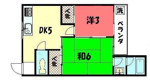 物件番号: 1075903550 ロイヤルマンション下鴨  京都市左京区下鴨泉川町 2DK マンション 間取り図