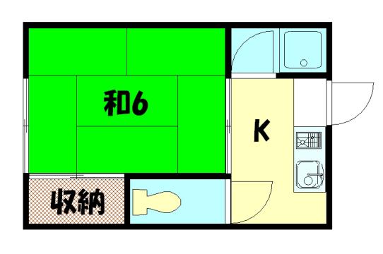 物件番号: 1075903816 洛北マンション  京都市左京区修学院千万田町 1DK ハイツ 間取り図