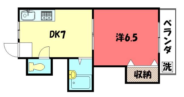 物件番号: 1075904335 モノシャカ憧  京都市左京区一乗寺釈迦堂町 1DK マンション 間取り図