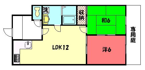 物件番号: 1075904488 サイドパークⅠ  京都市左京区岩倉忠在地町 2LDK マンション 間取り図