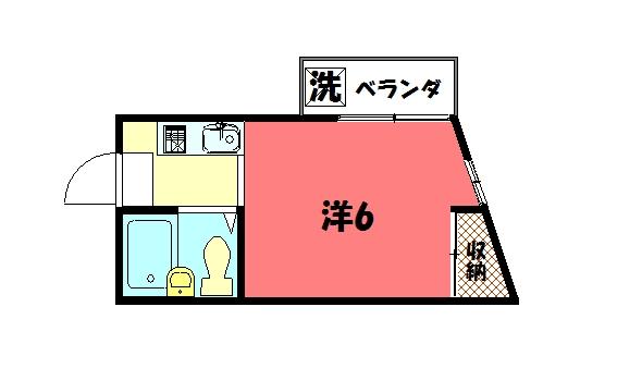 物件番号: 1075905385 コーポイケオ  京都市左京区下鴨西本町 1K マンション 間取り図