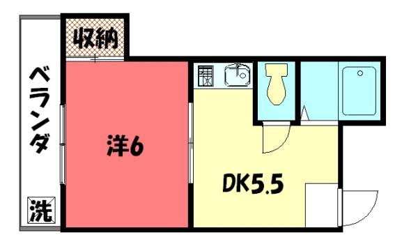 物件番号: 1075906055 パパス永楽  京都市左京区田中関田町 1DK マンション 間取り図