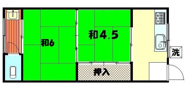 物件番号: 1075906874 第1青山荘  京都市左京区北白川上別当町 2K アパート 間取り図