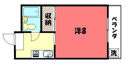 物件番号: 1075906993 バークレイカワムラ  京都市左京区岩倉幡枝町 1K マンション 間取り図