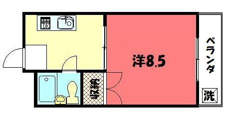 物件番号: 1075907460 らいむはうす  京都市左京区一乗寺南大丸町 1K マンション 間取り図