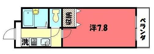 物件番号: 1075907766 Aフラット高野  京都市左京区田中上古川町 1K マンション 間取り図