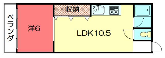 物件番号: 1075907824 コーポ吉沢  京都市左京区一乗寺払殿町 1LK マンション 間取り図