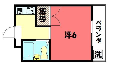 物件番号: 1075908260 ロイヤルコーポタカノ  京都市左京区高野清水町 1K マンション 間取り図