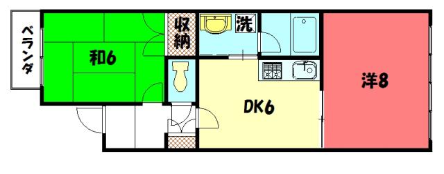 物件番号: 1075908723 メゾン ド K  京都市左京区下鴨高木町 2DK マンション 間取り図