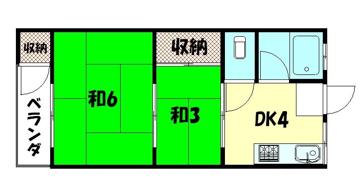 物件番号: 1075908824 二条マンション  京都市左京区孫橋町 2DK マンション 間取り図