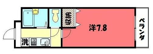 物件番号: 1075908842 Aフラット高野  京都市左京区田中上古川町 1K マンション 間取り図