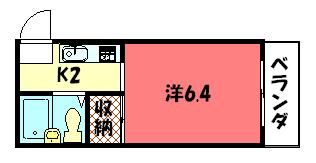 物件番号: 1075909327 ハイツ葵  京都市左京区松ケ崎杉ケ海道町 1K ハイツ 間取り図