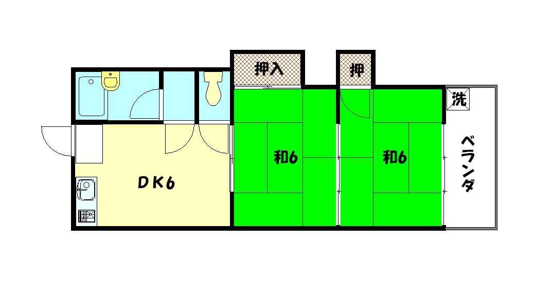 物件番号: 1075909612 コーポ比叡  京都市左京区修学院室町 2DK コーポ 間取り図