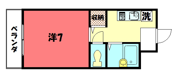物件番号: 1075909914 プロスペリテ・ノムラ  京都市左京区岩倉忠在地町 1K マンション 間取り図
