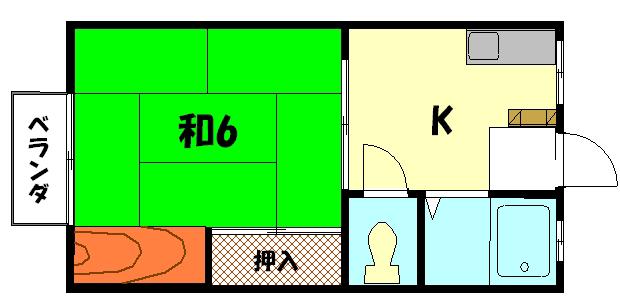 物件番号: 1075909962 カーサしもがも  京都市左京区下鴨蓼倉町 1K ハイツ 間取り図