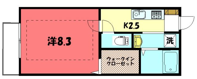 物件番号: 1075910013 カリン  京都市左京区岩倉中在地町 1K ハイツ 間取り図