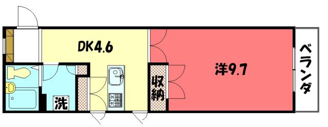 物件番号: 1075910030 ラ・カモガワ62  京都市左京区下鴨宮河町 1DK マンション 間取り図