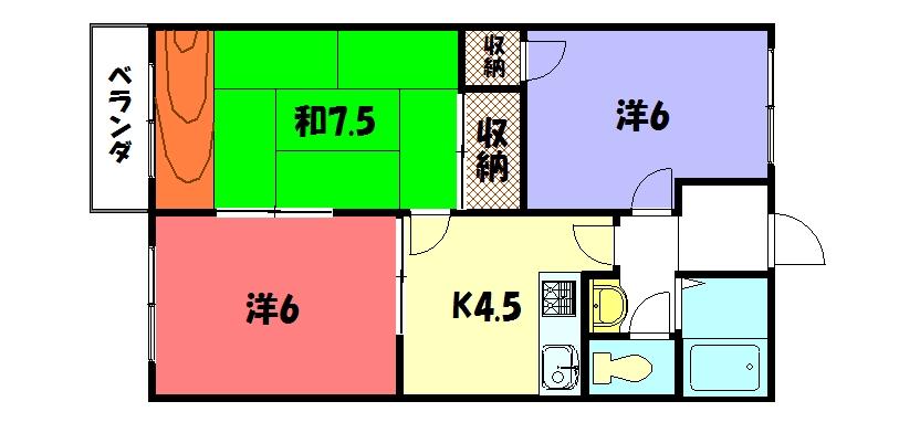 物件番号: 1075911069 アスティオン  京都市左京区岩倉長谷町 3K ハイツ 間取り図