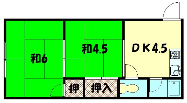 物件番号: 1075911144 みのりハイツ  京都市左京区岩倉西五田町 2DK ハイツ 間取り図