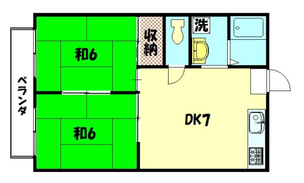 物件番号: 1075911191 ラパスプラトー  京都市左京区岩倉忠在地町 2DK ハイツ 間取り図
