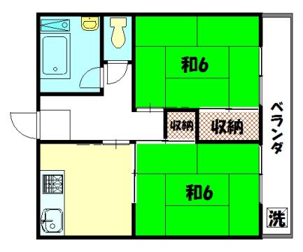 物件番号: 1075911679 ハイツ彦惣  京都市左京区一乗寺谷田町 2K アパート 間取り図