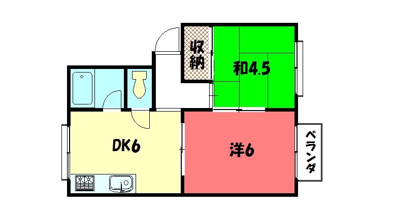 物件番号: 1075911688 メゾン桜木  京都市左京区松ケ崎三反長町 2DK ハイツ 間取り図