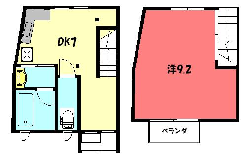 物件番号: 1075912205 松ヶ崎タウンハウス祥  京都市左京区松ケ崎中町 1DK タウンハウス 間取り図
