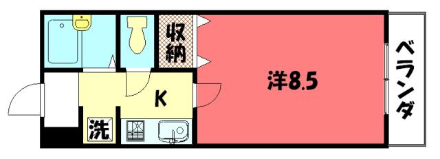 物件番号: 1075912440 AIM北山  京都市左京区松ケ崎雲路町 1K マンション 間取り図