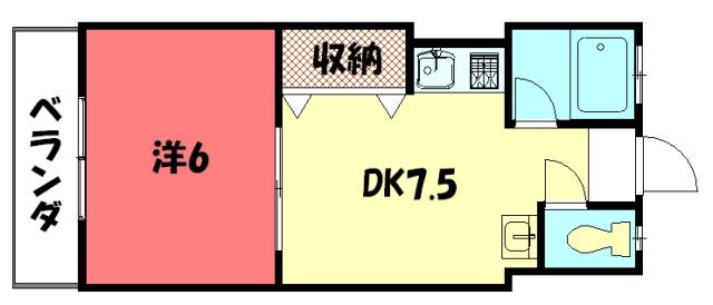 物件番号: 1075912453 コーポ吉沢  京都市左京区一乗寺払殿町 1DK マンション 間取り図