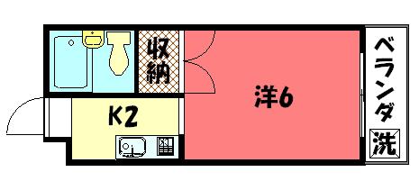 物件番号: 1075912479 コーポ下鴨13  京都市左京区下鴨蓼倉町 1K コーポ 間取り図