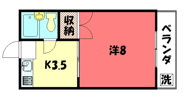 物件番号: 1075912983 リサイドS  京都市左京区田中大久保町 1K マンション 間取り図