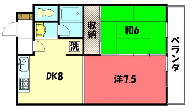物件番号: 1075913329 グリーンパレスコムラ  京都市左京区岩倉幡枝町 2DK マンション 間取り図