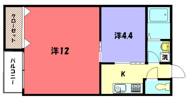 物件番号: 1075913706 ザクセル  京都市左京区吉田中阿達町 2K マンション 間取り図