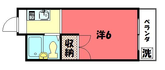物件番号: 1075913803 レジデンスシマダⅠ  京都市左京区田中西大久保町 1K マンション 間取り図