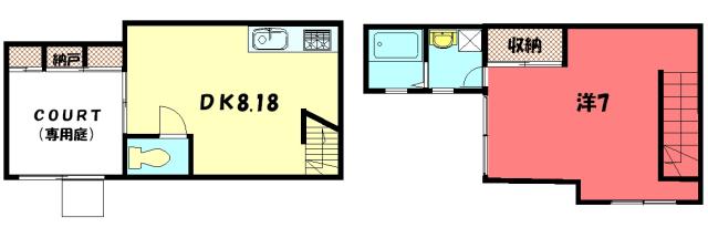 物件番号: 1075913978 ラ・コルテ・ダイキ  京都市左京区一乗寺地蔵本町 1DK アパート 間取り図
