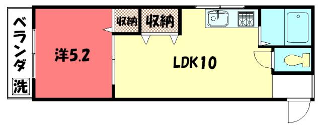 物件番号: 1075913992 セントラル修学院  京都市左京区修学院中林町 1LDK マンション 間取り図
