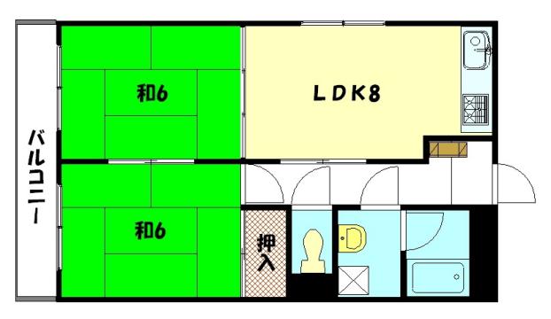物件番号: 1075914190 グランドールさかた  京都市左京区岩倉忠在地町 2LDK マンション 間取り図