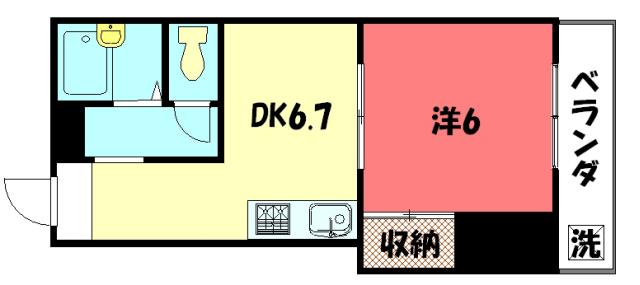 物件番号: 1075914309 パパス永楽  京都市左京区田中関田町 1DK マンション 間取り図