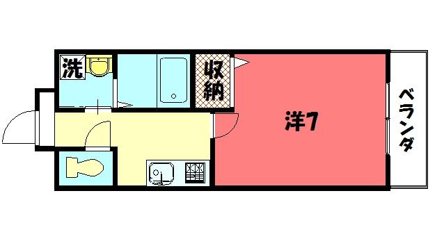 物件番号: 1075914365 アライブキノ  京都市左京区岩倉幡枝町 1K ハイツ 間取り図