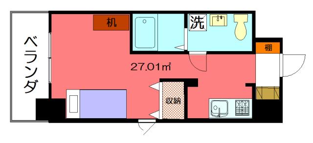 物件番号: 1075914415 アティ今出川  京都市上京区元北小路町 1R マンション 間取り図