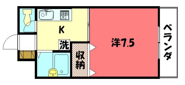 物件番号: 1075915217 川端ハイツ  京都市左京区一乗寺西水干町 1K マンション 間取り図