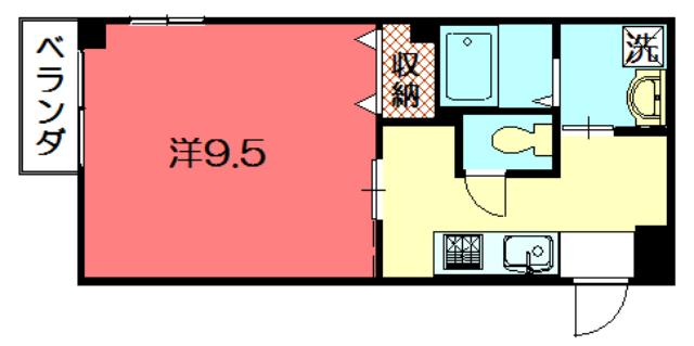 物件番号: 1075915404 アールメゾン  京都市左京区田中飛鳥井町 1K マンション 間取り図